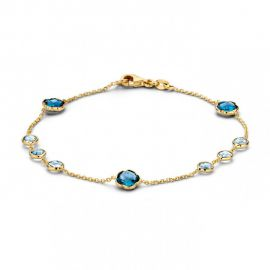Armband geelgoud topaas/london blue topaas