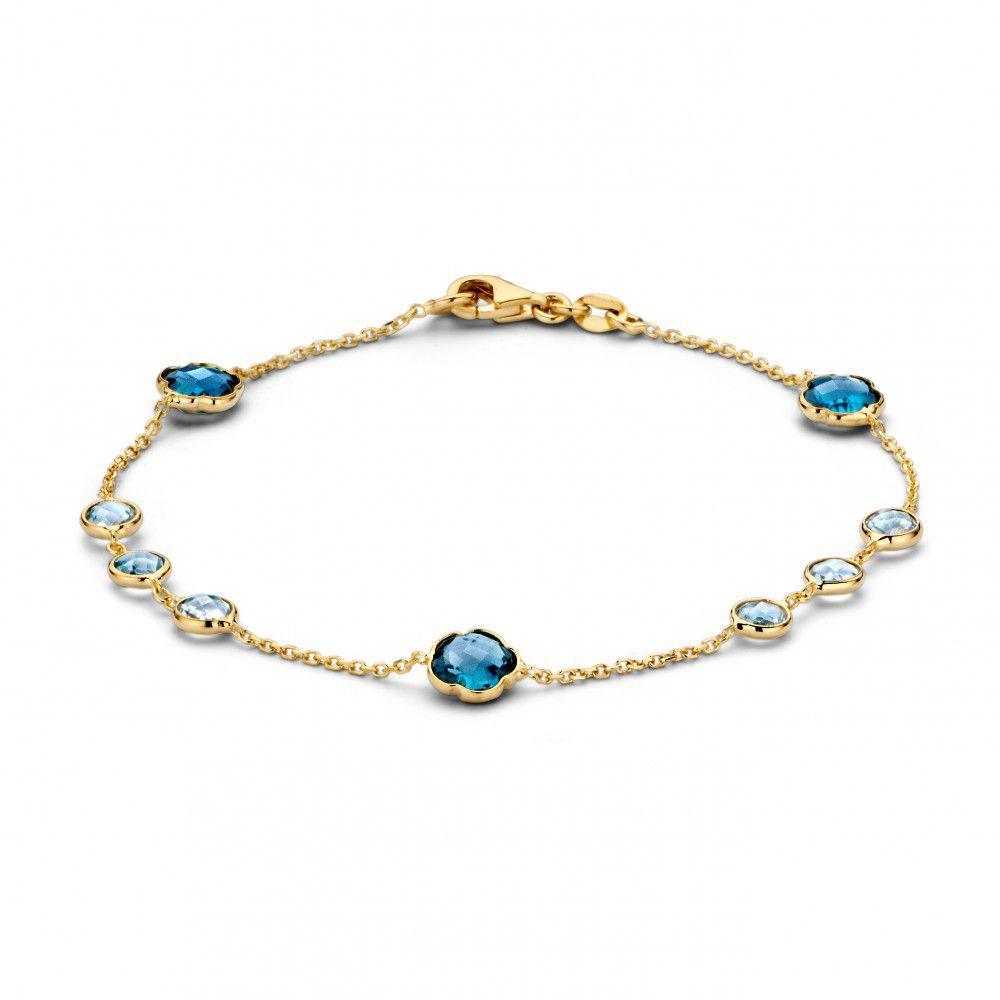 armband geelgoud topaaslondon blue topaas