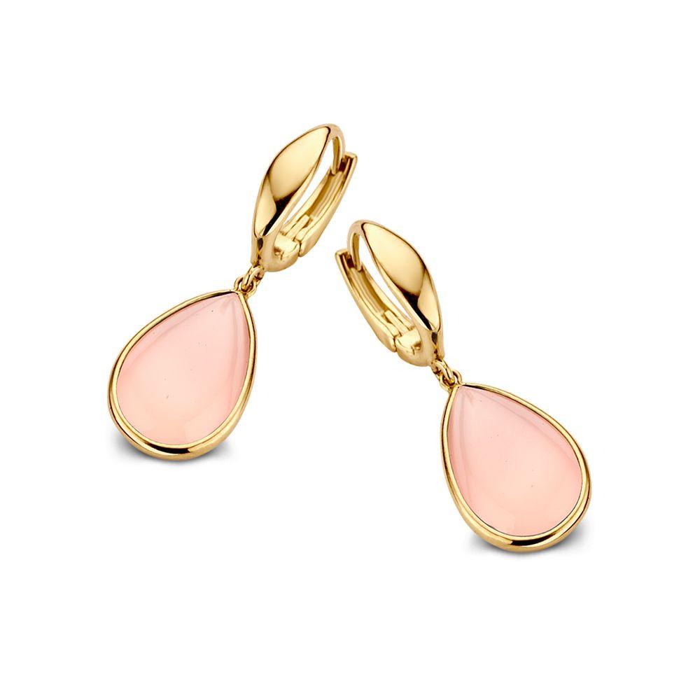 oorringen geelgoud roze chalcedoon