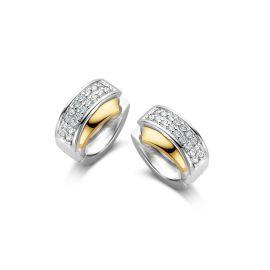Oorringen zilver/goud zirkonia
