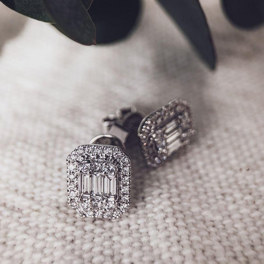 oorbellen met diamant baguette