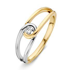 Ring bicolor briljant 0.04 crt.