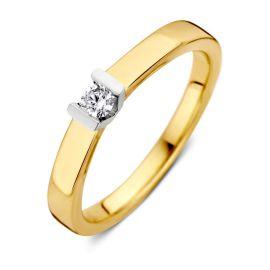 Ring bicolor briljant 0,10 crt.