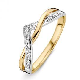 Ring bicolor briljant 0.10 crt.