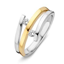 Ring bicolor briljant 0,12 crt.