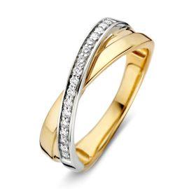 Ring bicolor briljant 0.16 crt.