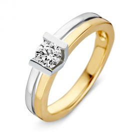 Ring bicolor briljant 0.40 crt.
