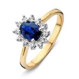 Ring bicolor briljant + saffier