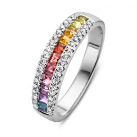 Ring witgoud briljant 0.23 crt.+ kleursteen