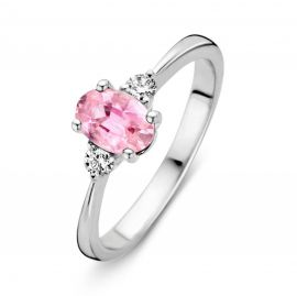 Ring witgoud briljant + roze saffier