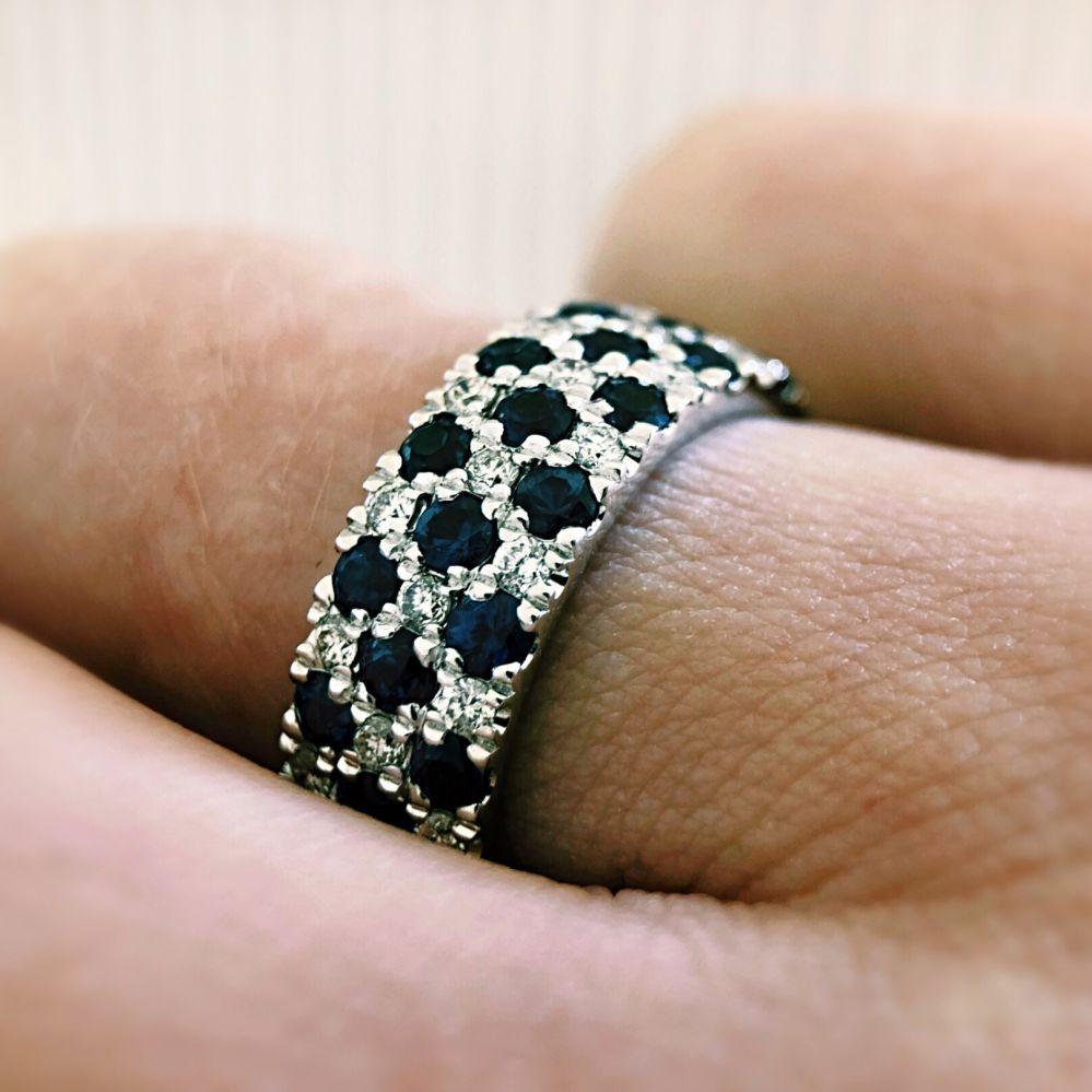 ring witgoud briljant saffier