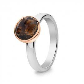 Ring zilver/goud rookkwarts
