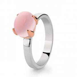 Ring zilver/goud rozenkwarts