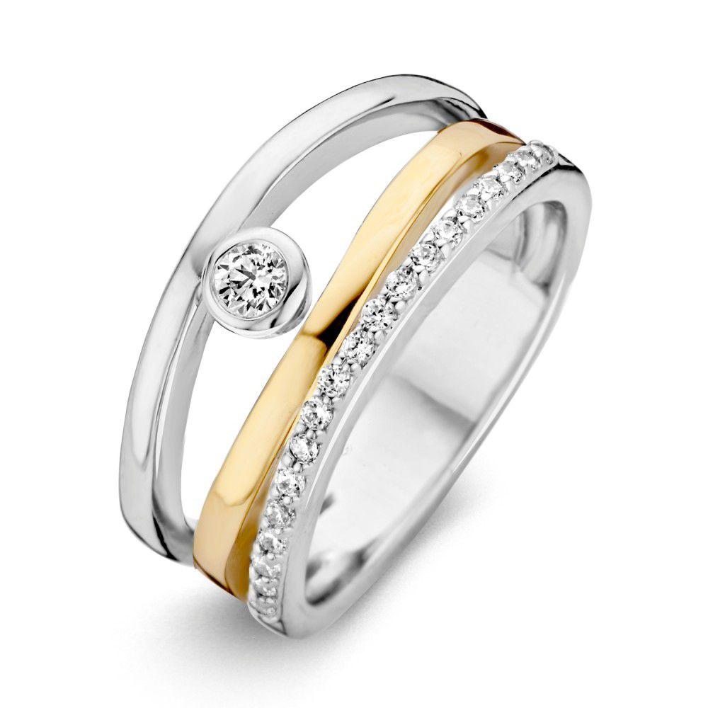 ring zilvergoud zirkonia