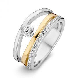 Ring zilver/goud zirkonia