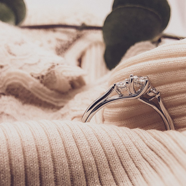 Driesteens ring diamant